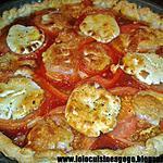 recette Tarte Tomate-Chèvre au coulis de tomate et courgettes grillées