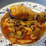 recette Poulet ... sauce champignons et petits lardons...parfumé au thym...