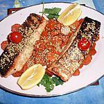 Pavé de saumon laqué,carottes confites et graines de sésame