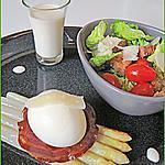 recette Asperges poêlées, oeuf mollet sur pancetta grillée, sauce et salade parmesan