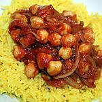 recette Pois chiches pimentés sur riz Basmati au curcuma