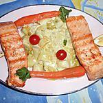 Pavés de saumon avec sa fondue de poireaux