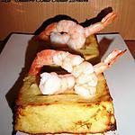 Flans de poireaux aux crevettes & crème de parmesan