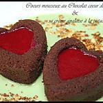 ** Gâteau saint valentin : Duo de Coeurs mousseux au chocolat, miroir framboise et sa crème anglaise à la pistache et pralin**