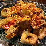 recette Tortellinis poêlés à la sauce chili & oignon frit