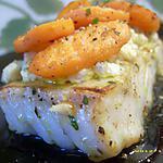 pavé de cabillaud à la crème, petites carottes glacées au vin blanc