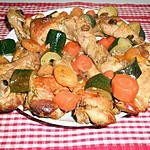 recette Tajine de poulet aux courgettes, carottes,tomates, abricots secs,(moelleux) et raisins  secs.