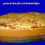 recette Gratin de chou fleur à la béchamel légère