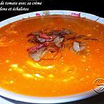 recette veloutée de tomate avec sa crème et ses lardons et échalotes