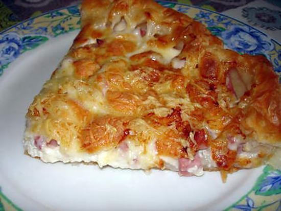 Recette de Quiche au jambon/bacon et aux 3 fromages